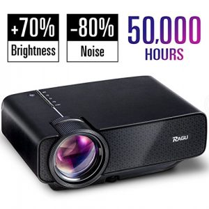 RAGU Z400 Mini Projector, 50,000Hours Support, Multimedia Home Theater Video Projector having +21% Lumens