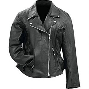Rockie Mountain Solid Genuine Hides Ladies Buffalo Motorcycle Leather Jacket