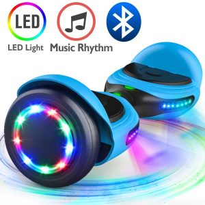 TOMOLOO Music-Rhythmed LED Hoverboard for Kids and Adult Two-wheel Self-balancing Scooter- UL2272 Certificated with Bluetooth Speaker- colorful RGB light