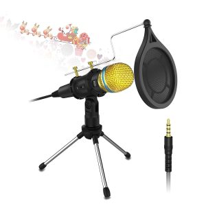 Condenser Microphone with Tripod Stand,Valoin 3.5mm Plug &Play Home Studio Condenser Microphone for PC Desktop Laptop for Recording, Gaming, Podcasting, Online Chatting