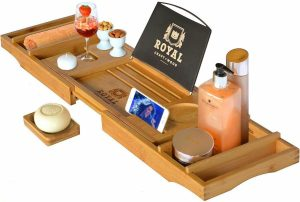 Royal Craft Wood Luxury Bathtub Caddy Tray (Natural Color)