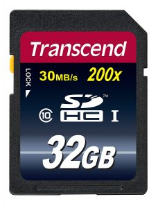 Transcend Class 10, 32 GB SDHC Flash Memory Card