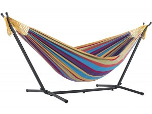 Vivere Double Space-Saving Hammock with Steel Stand