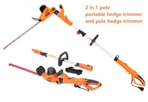 GARCARE 4.8A 2 out of 1 Pole Multi-Angle Corded Portable Hedge Trimmer