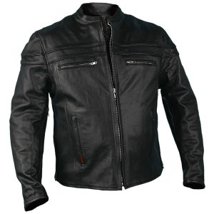 Hot Leathers Men's Black Leather Heavyweight Jacket
