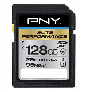 PNY High Speed 128 GB SDXC U3 up to 95 MB per Sec