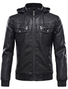 Tanming Men's with Removable Fur Hood PU Leather Jacket