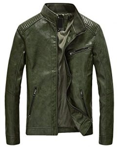 Youhan Men's Leather Jacket Slim Casual Zip up Bomber Faux