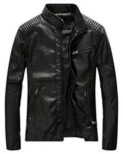 Fairylinks Men Black Leather Jacket Slim Fit and Lightweight