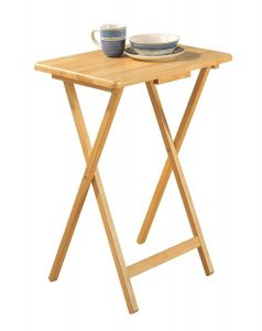 PJ Wood Snack Table Natural Tray TV Table