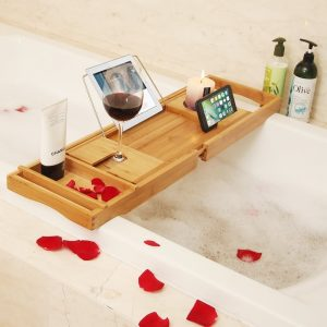 BAMBUROBA (Bamboo) Bathtub Caddy Tray