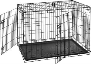 AmazonBasics Double Door and Single Door Folding Metal Dog Crate