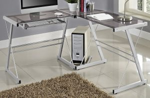 WE Furniture three Piece Soreno Silver Glass Corner Desk