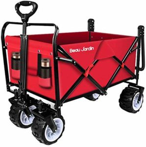 BEAU JARDIN Folding 300 Pound Capacity Push Pull Beach Cart