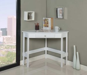 Kings Brand Furniture White Wood Corner Desk with Drawer