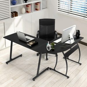Green Forest L-Shape Black Corner Computer Office Desk