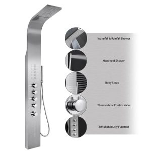 AKDY 63inch Stainless Steel Rainfall Multi-Function Shower Tower Panel