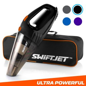 FamilyTool SwiftJet Car Vacuum Cleaner - High Powered 4 KPA Suction Handheld Automotive Vacuum