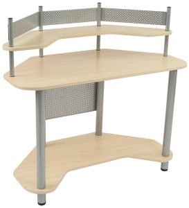 Calico Designs 55124 Silver with Maple Study Corner Desk