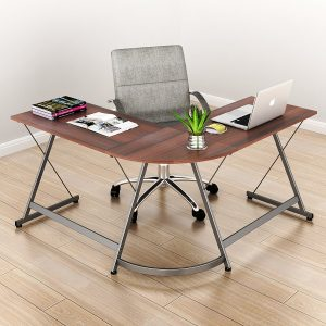 SHW L-Shaped Office Home Corner Desk Espresso Wood Top