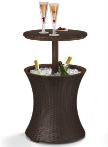 Keter 7.5-Gallon Cool Bar Outdoor Patio Pool Cooler & Table, Rattan Style, Brown