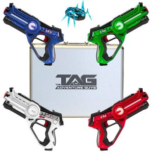 Premium Deluxe Lazer Tag Gun Set of 4 with Designer Case & Beetle Bug