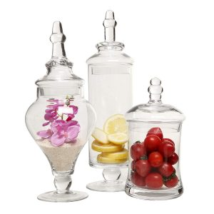 Mygift Designer Clear Glass Decorative Weddings Apothecary Jars