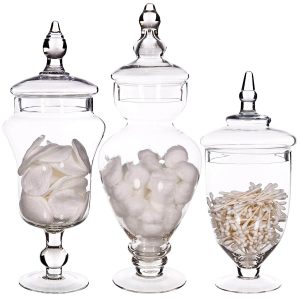 Palais Glassware Clear Glass Set of 3 Apothecary Jars