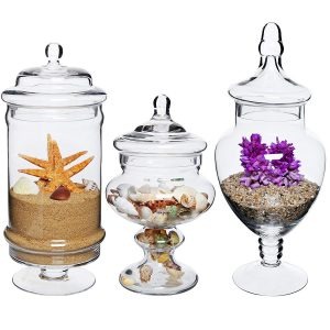 Mygift Set of three Deluxe Apothecary Jar Sets