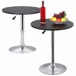 Topeakmart Pub Table Adjustable Bar Round MDF Top, 360 degrees Swivel