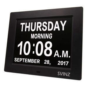 SVINZ Dementia Clock, 2 Auto-Dim, 3 Alarms Options