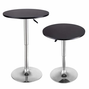 Costway Modern Round bar Table, Adjustable Bistro Pub Counter Wood-Top Swivel