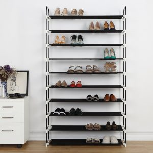 Housen Solutions 10 Tier 50 Pairs Shoe Rack, Black