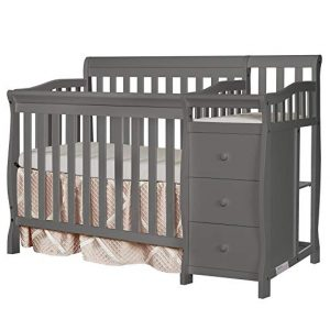 Dreams on Me Jayden 4-in-1 Mini Convertible Crib and Changer, Storm Grey