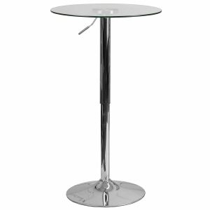 Flash Furniture Round Adjustable 23.5'' Height Glass Table