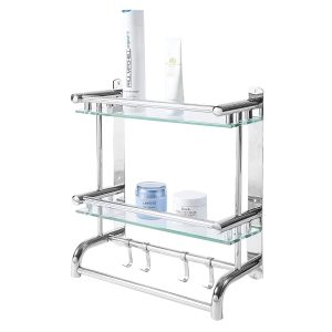 MyGift Stainless Steel Bathroom Shelf Rack