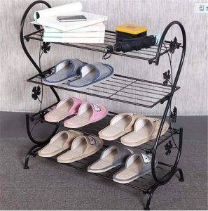 AISHN Continental Iron Shoe Rack (Black)