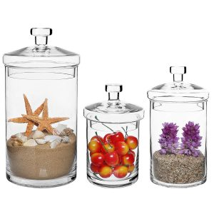 Mygift Set of 3 Clear Glass Apothecary Jars