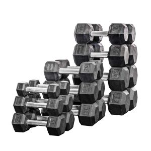 Rep Fitness Hex Dumbbell Set Rubber with Racks