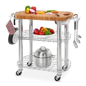 Seville Classics Rolling Oval Kitchen Island Cart with Storage