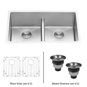 Ruvati 30-inch Undermount RVH7355 Double Bowl Kitchen Sink
