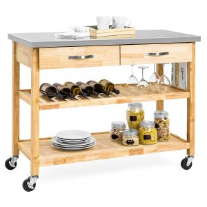 Best Choice Products Wood Rolling 3-Tier Kitchen Island Cart- Natural
