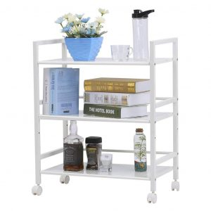 LANGRIA 3-Tier Microwave Oven Rack Shelving Unit, Ivory White