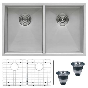 Ruvati RVH7350 16 Gauge Undermount Double Bowl Kitchen Sink