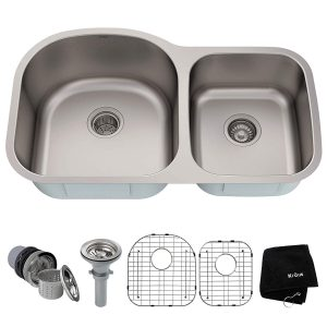 Kraus KBU27 Undermount 35 inchs Double Bowl Steel Kitchen Sink
