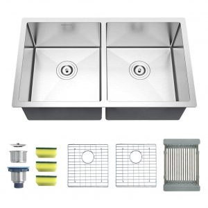 MENSARJOR Undermount 16 Gauge Stainless Steel Double Bowl Kitchen Sink