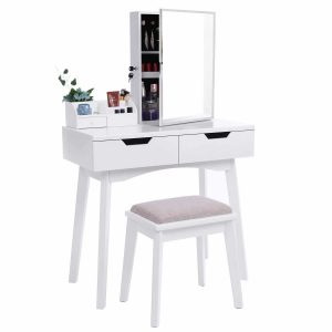 BEWISHOME White Makeup Vanity Desk Dressing Table