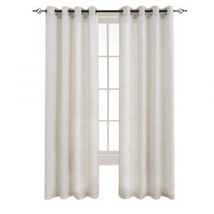 Linen Curtains for Darkening Curtains for Bedroom Grommet Window (Crude)