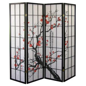 Legacy Decor Plum Blossom 4-Panel Screen Room Divider