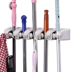 ONMIER Broom and Mop Holder, Multiuse Wall Mounted Organizer (6 Hooks 5 Position)